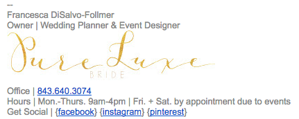 elegant wedding planner email signature