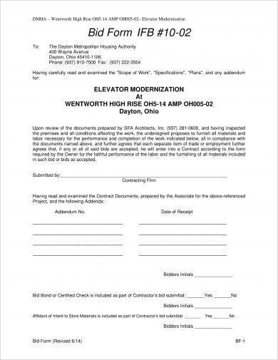 elevator modernization construction bid form example1