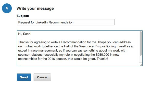 email request for a linkedin recommendation