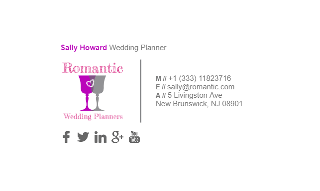 email signature for wedding planner example