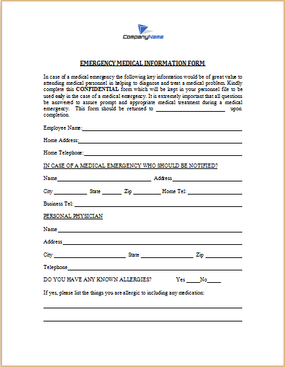 emergency medical information form plan