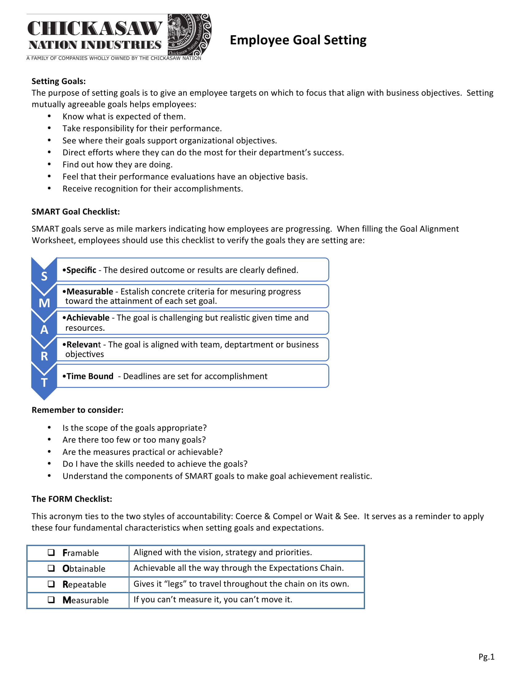 employee goal setting alignment worksheet example