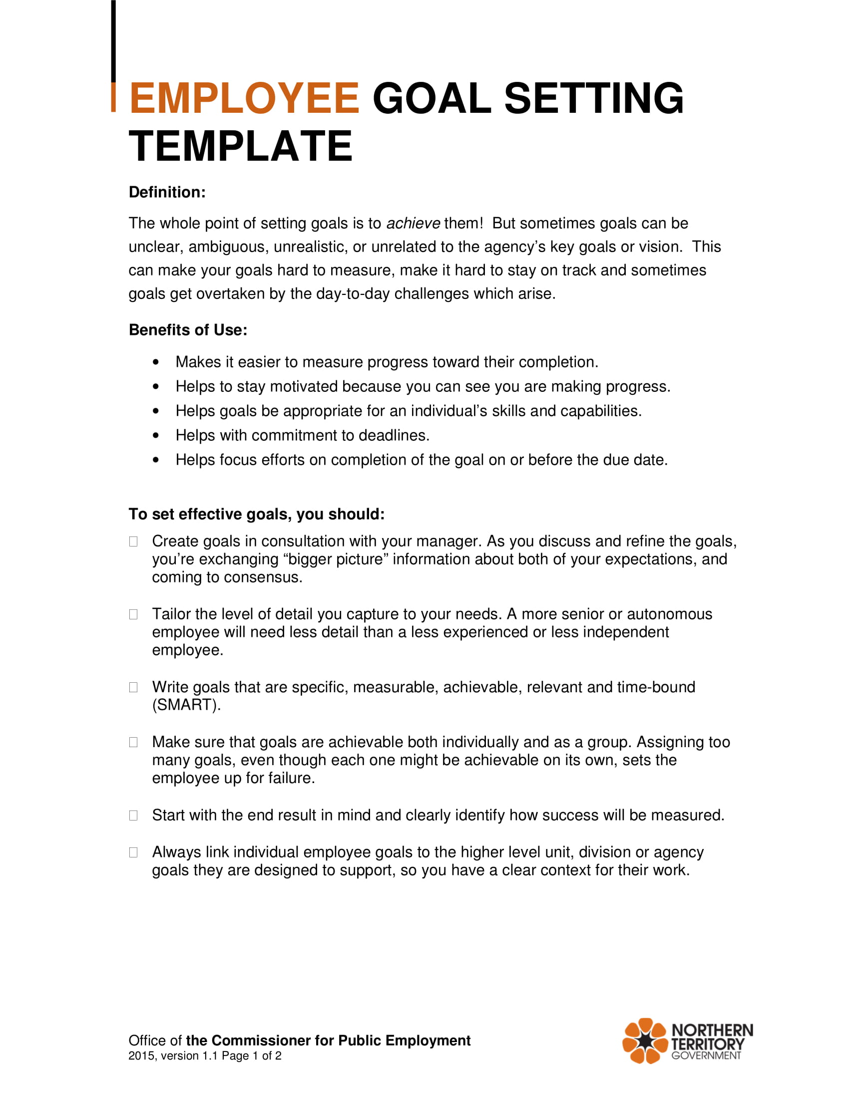 Employee-Goal-Setting-Template-Example Sample Employee Performance Goals Examples on evaluation form, appraisal wording example, write up, appreciation letter, business perspective, write up template,