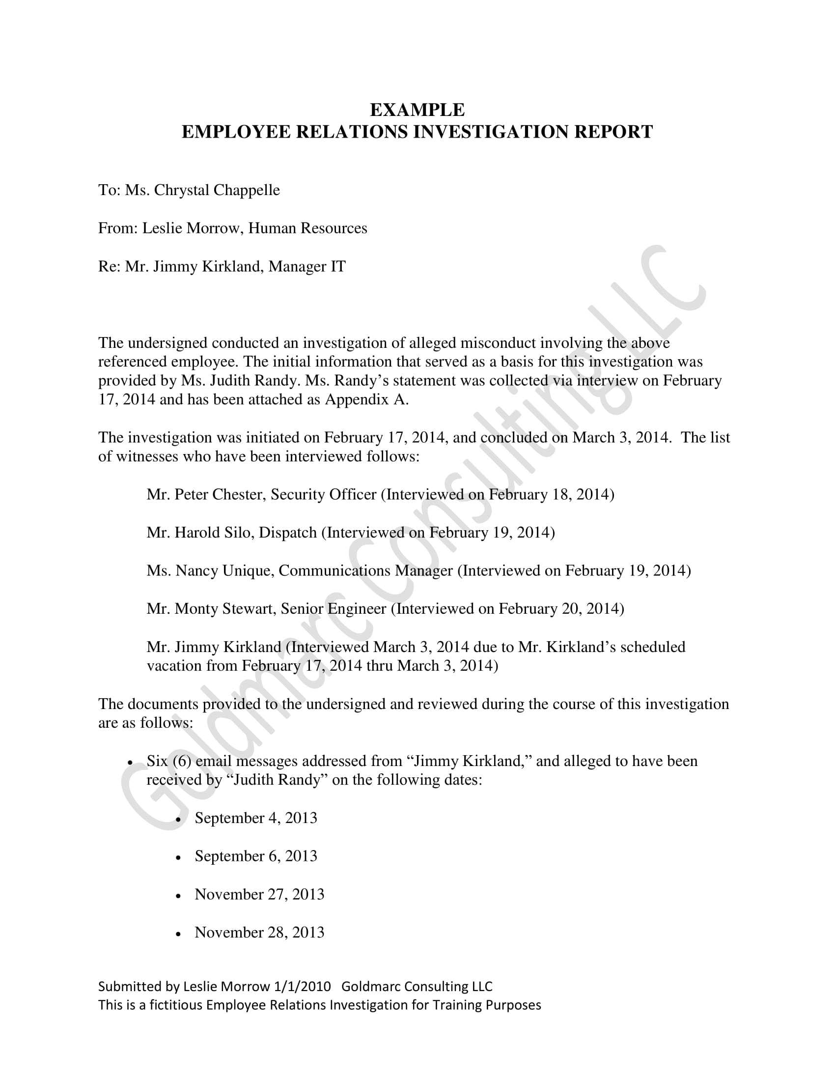 employee relations investigation report example 1