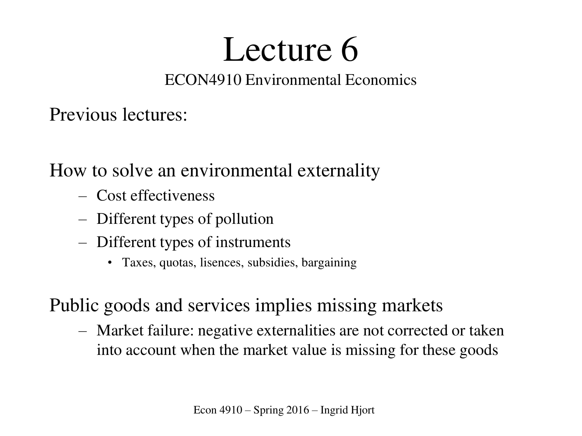 environmental economics cost analysis example