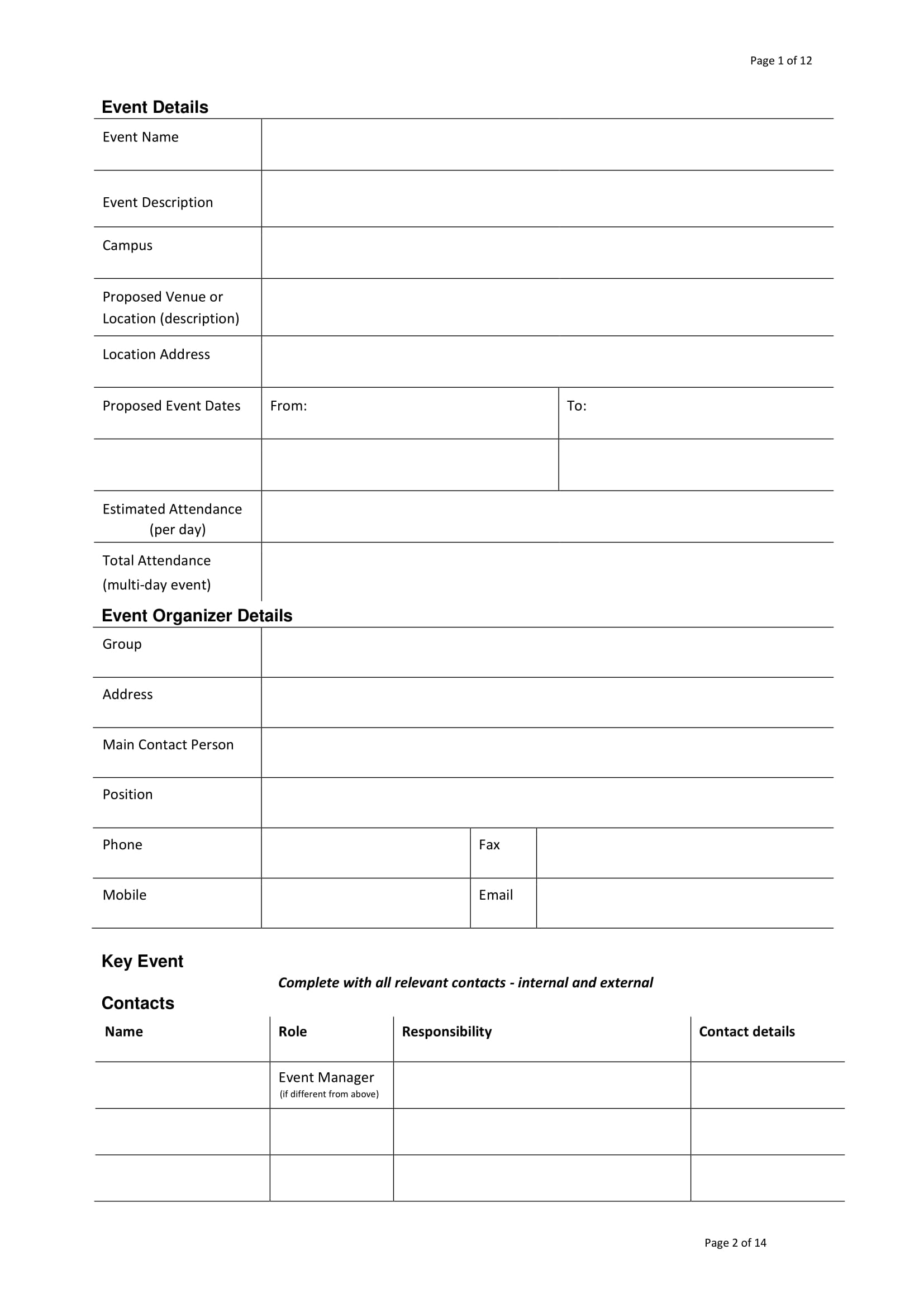event project plan form example