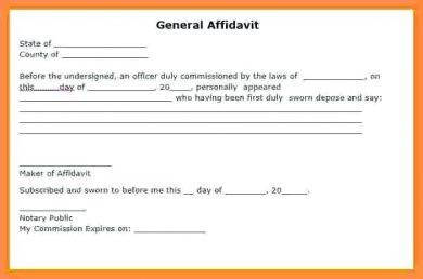 example of a general affidavit1