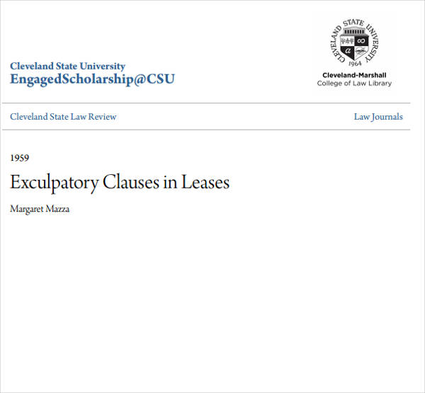 example of exculpatory clauses in leases