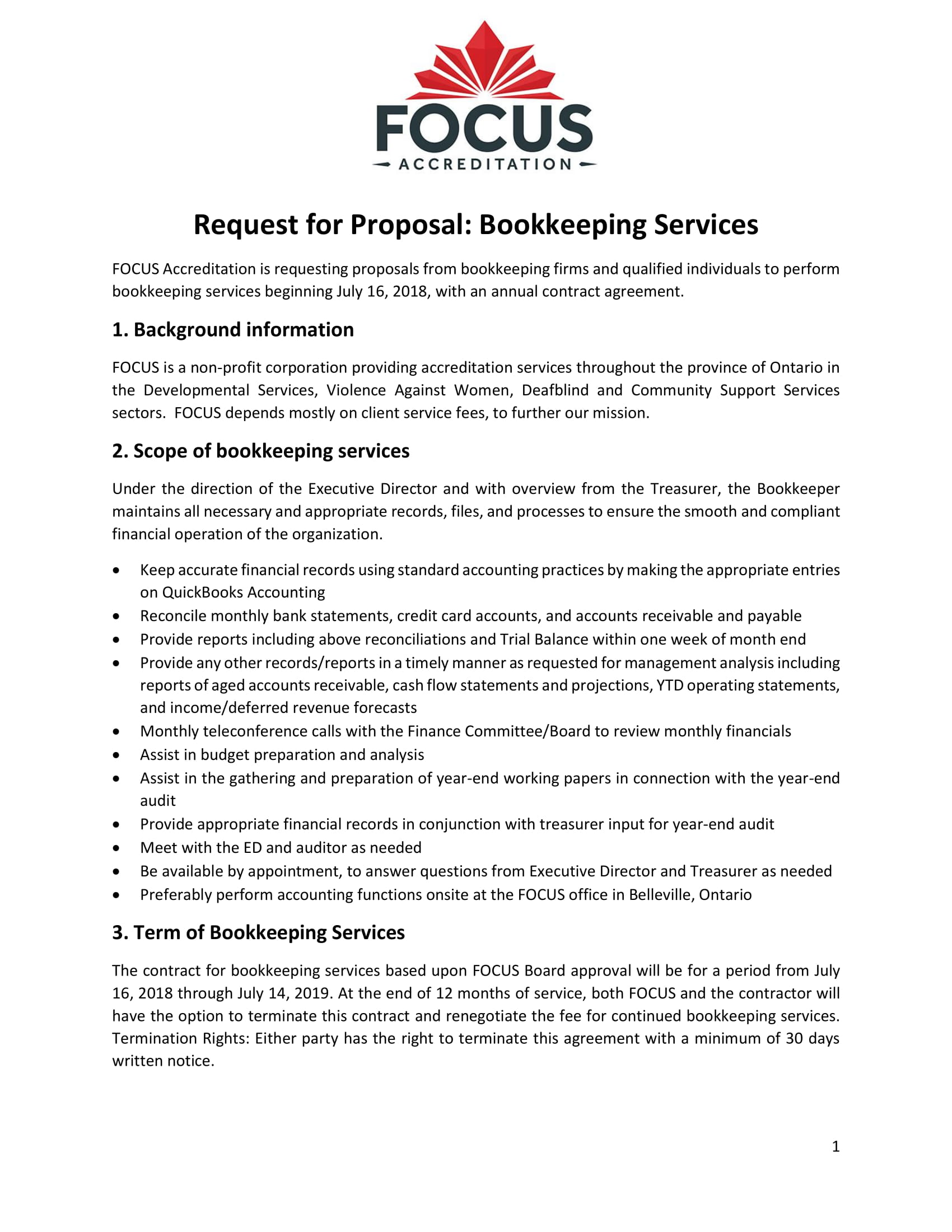 focus request for proposal bookkeeping services