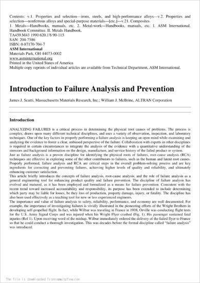 failure analysis and prevention example