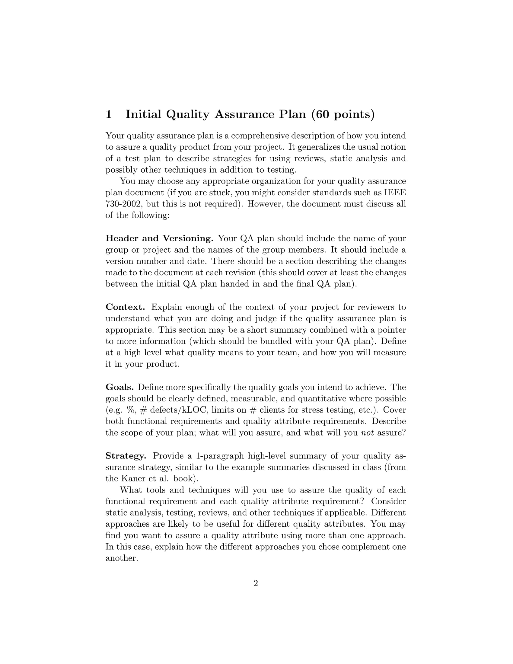 final project software quality assurance plan example