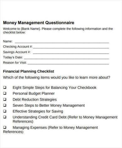 financial planning check list for checkbook