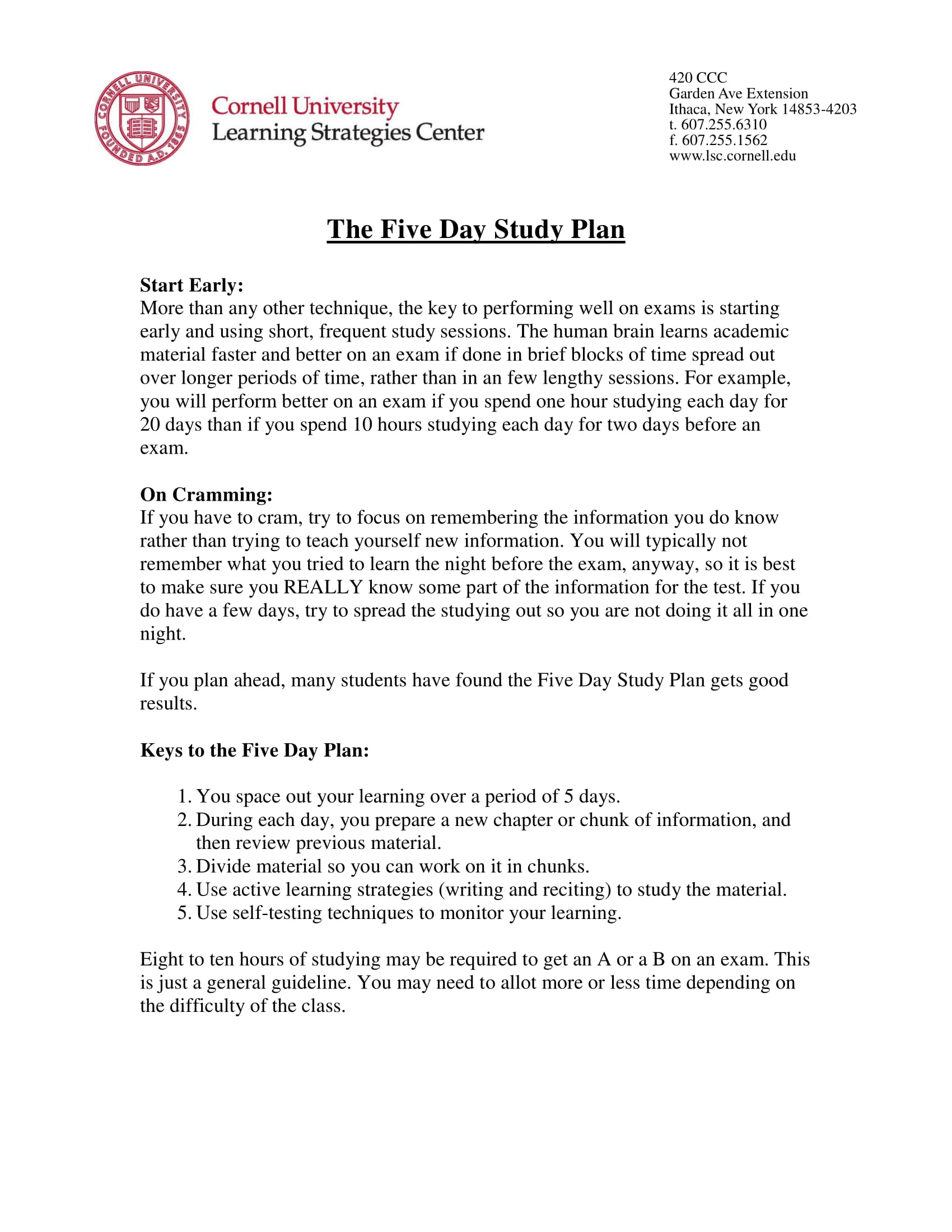 five day study plan example
