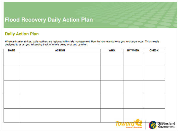 flood recovery daily action plan example