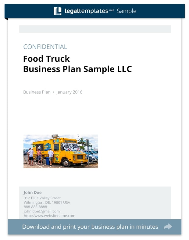 food truck business plan cover example