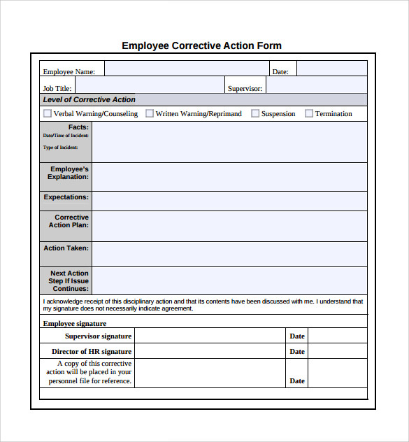 form for employee action plan example
