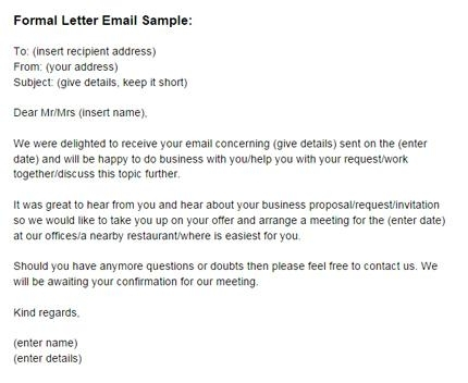 formal letter email example