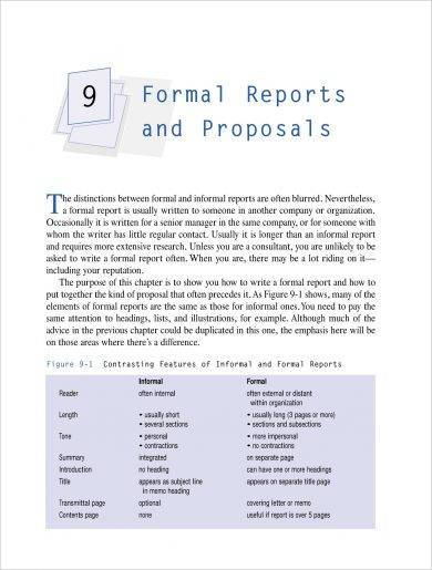 formal reports and proposal for business management example