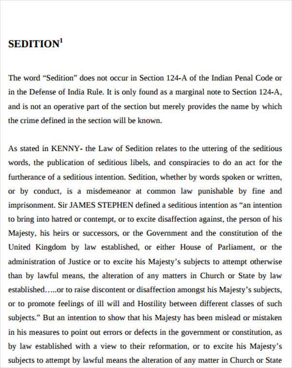 formal seditious speech example