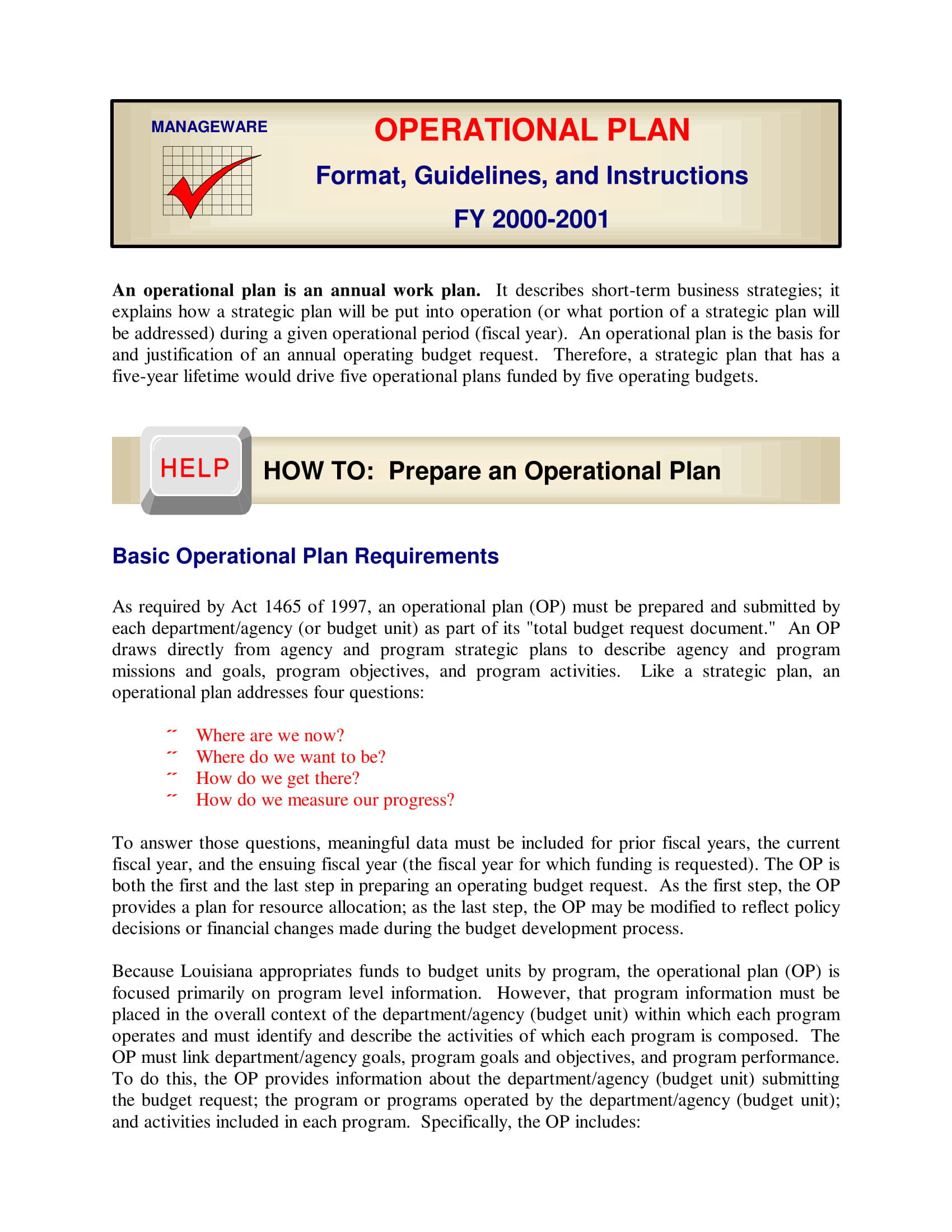 format guidelines and instructions for an operational plan for a business plan example 01