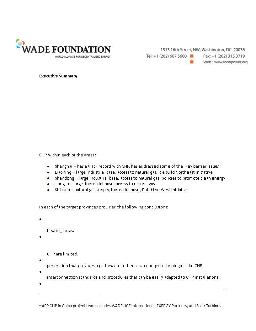 foundation executive summary example