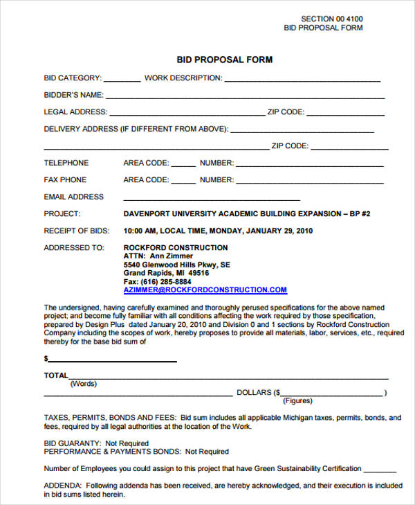 free contractor bid proposal form example
