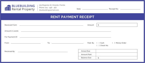 free rent payment receipt example
