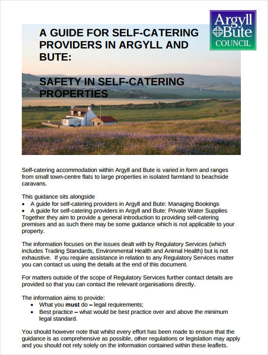 free self catering business plan example
