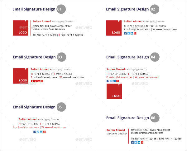 fully editable printable email signature example