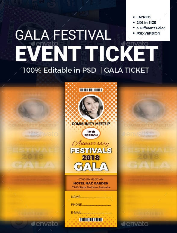 gala festival event ticket example