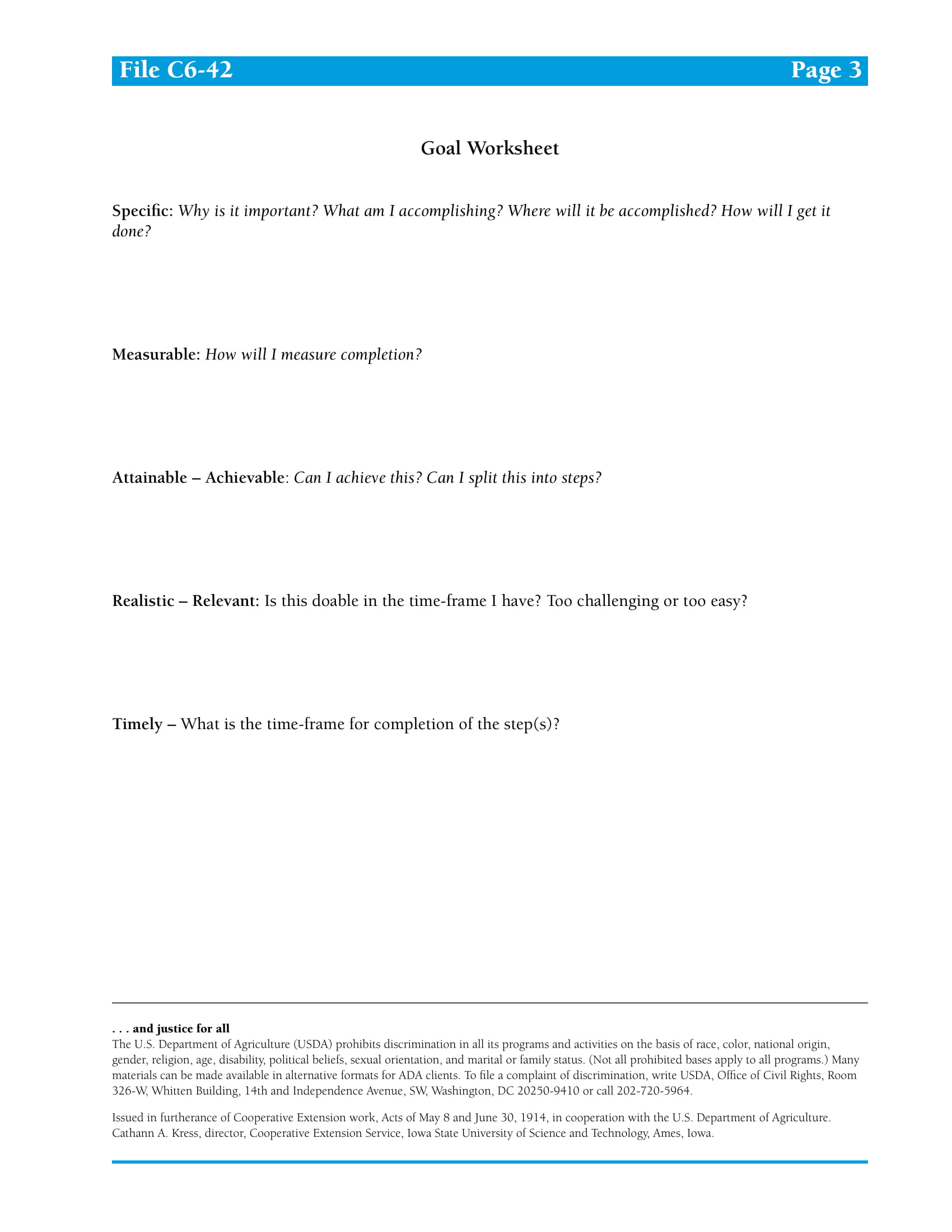 goal worksheet example