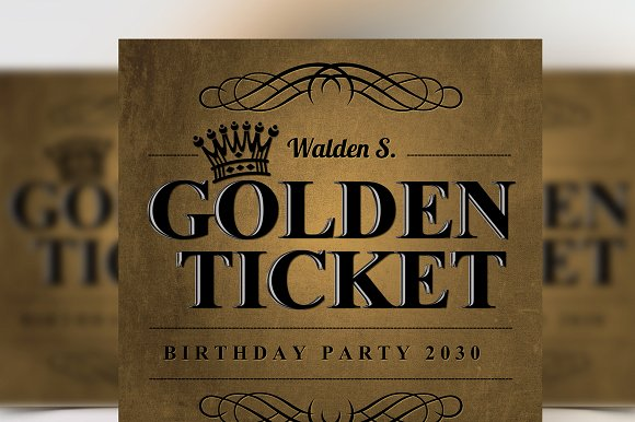 golden birthday invitation ticket