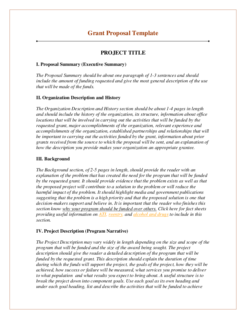 grant proposal writing template