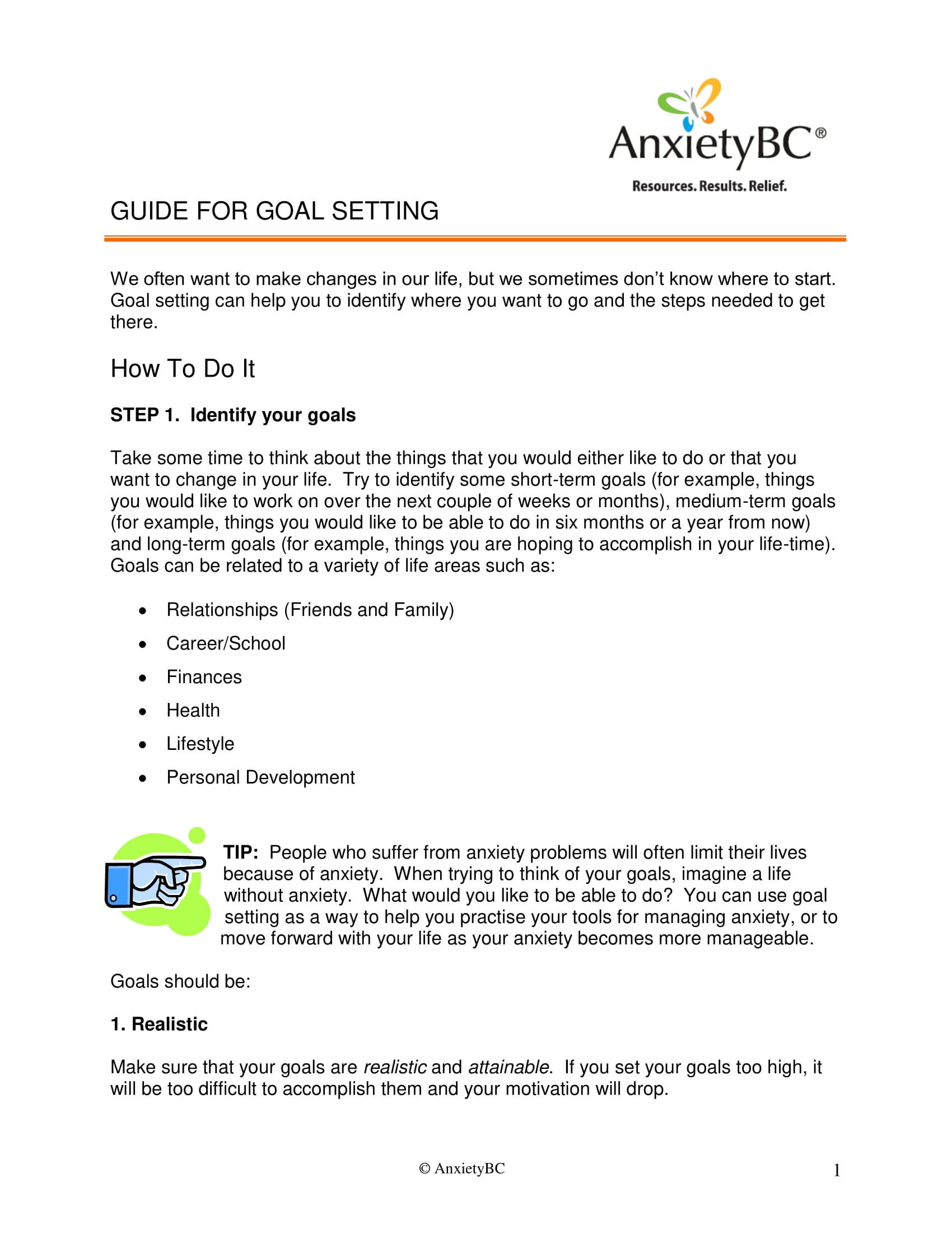 guide for goal setting example