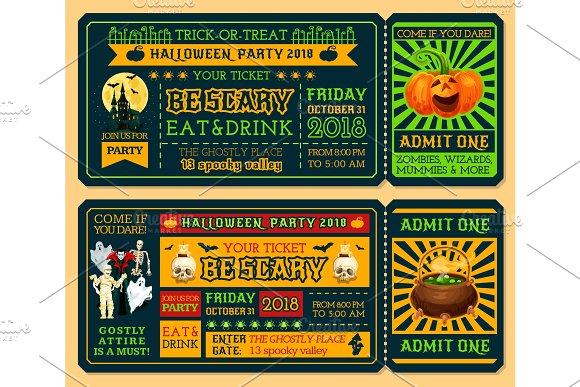 halloween retro ticket template