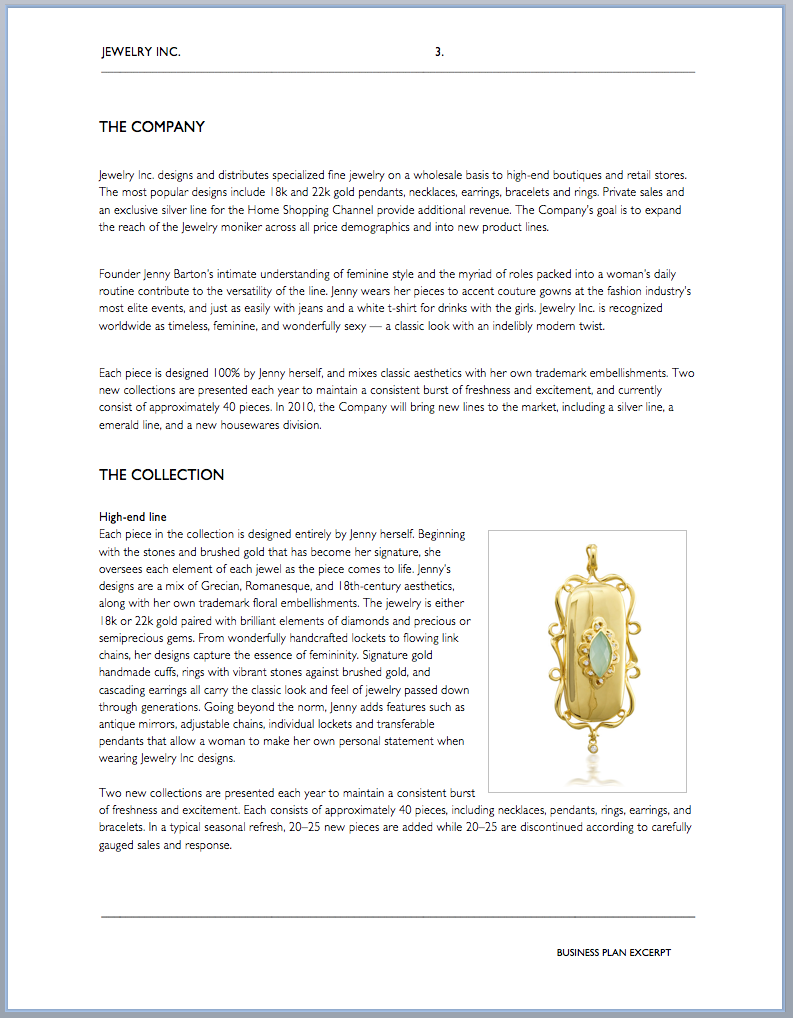 handmade jewelry business plan example