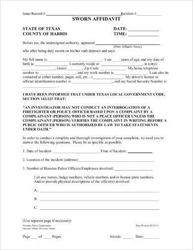 harris county sworn affidavit form example1