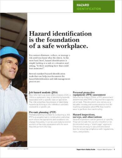 hazard identification or analysis for a safe workplace example