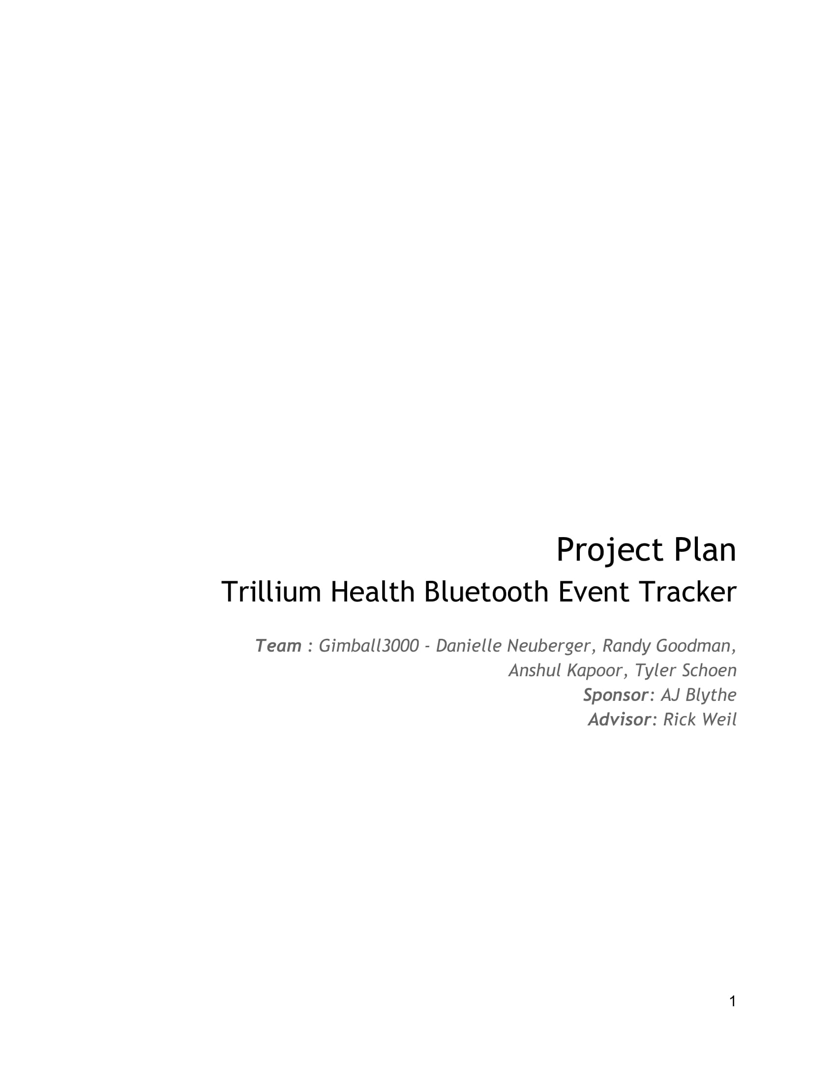 health bluetooth event tracker project plan example