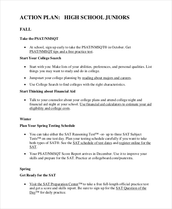 high school student action plan example