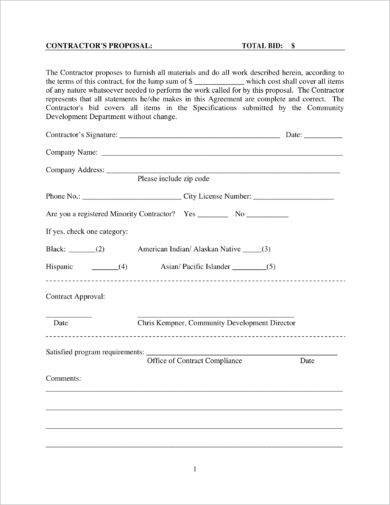 home improvement construction bid form example