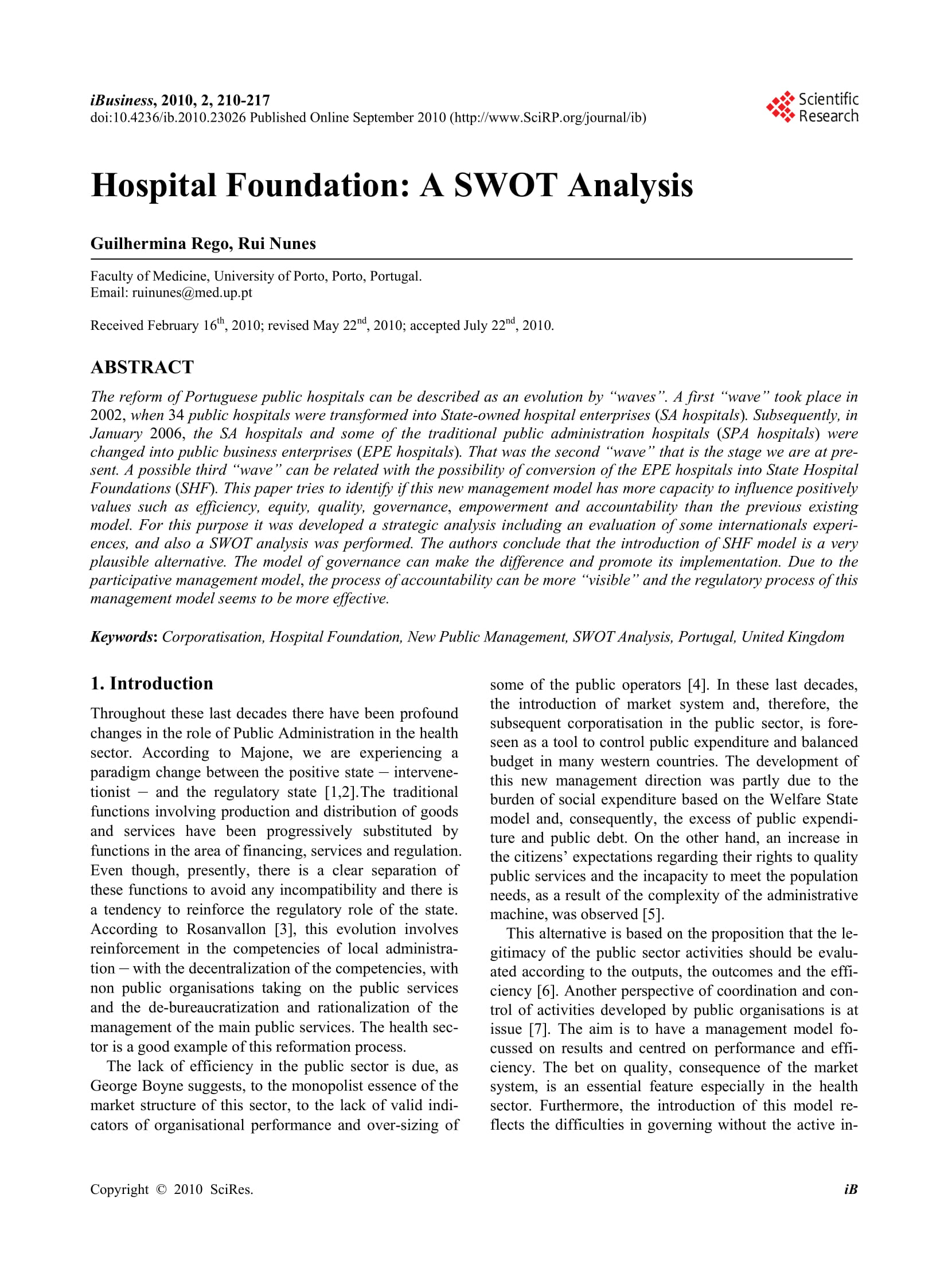 hospital foundation health care provision management and operational swot analysis example 1