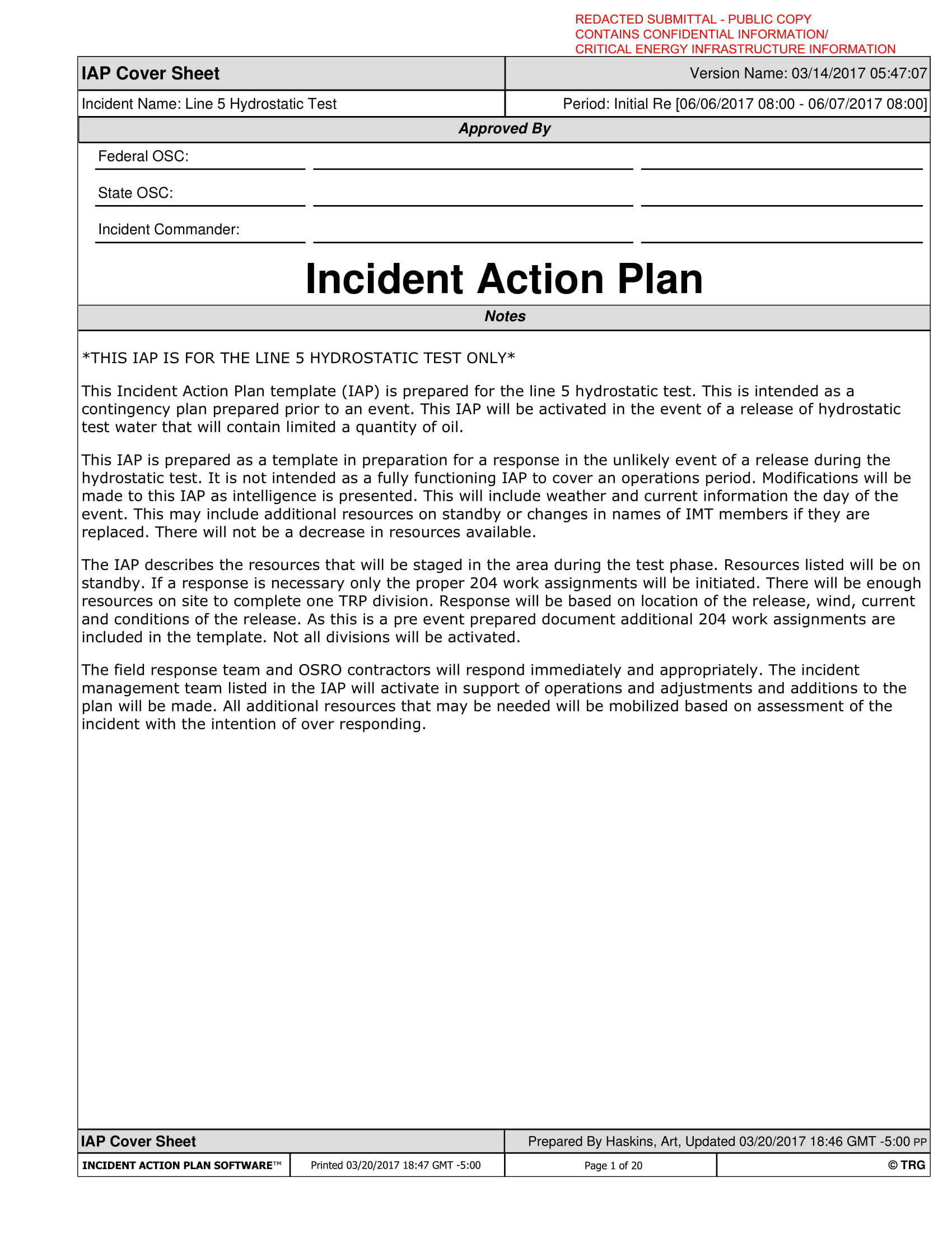 hydrostatic test incident action plan example