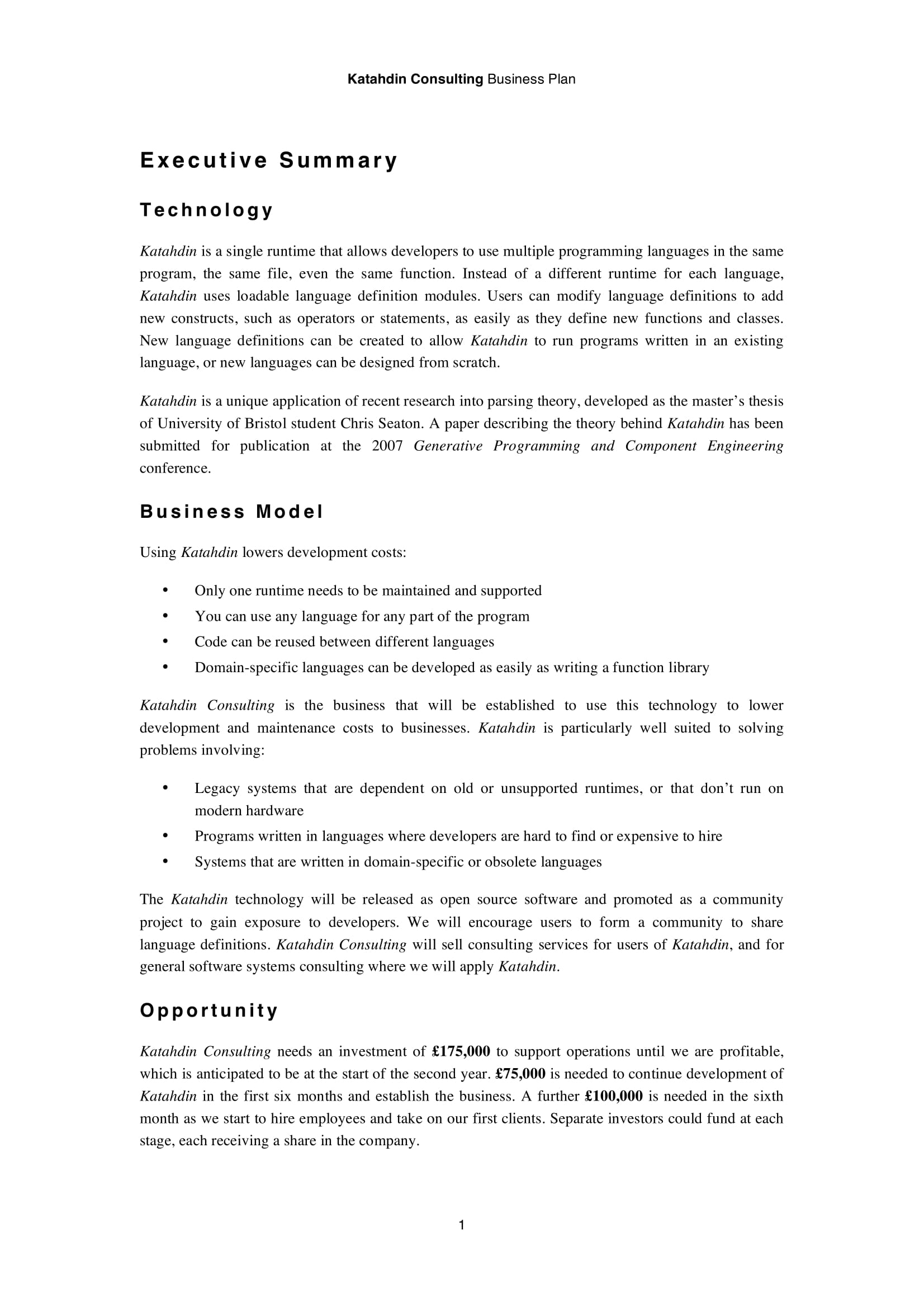 IT Business Consulting Business Plan Example
