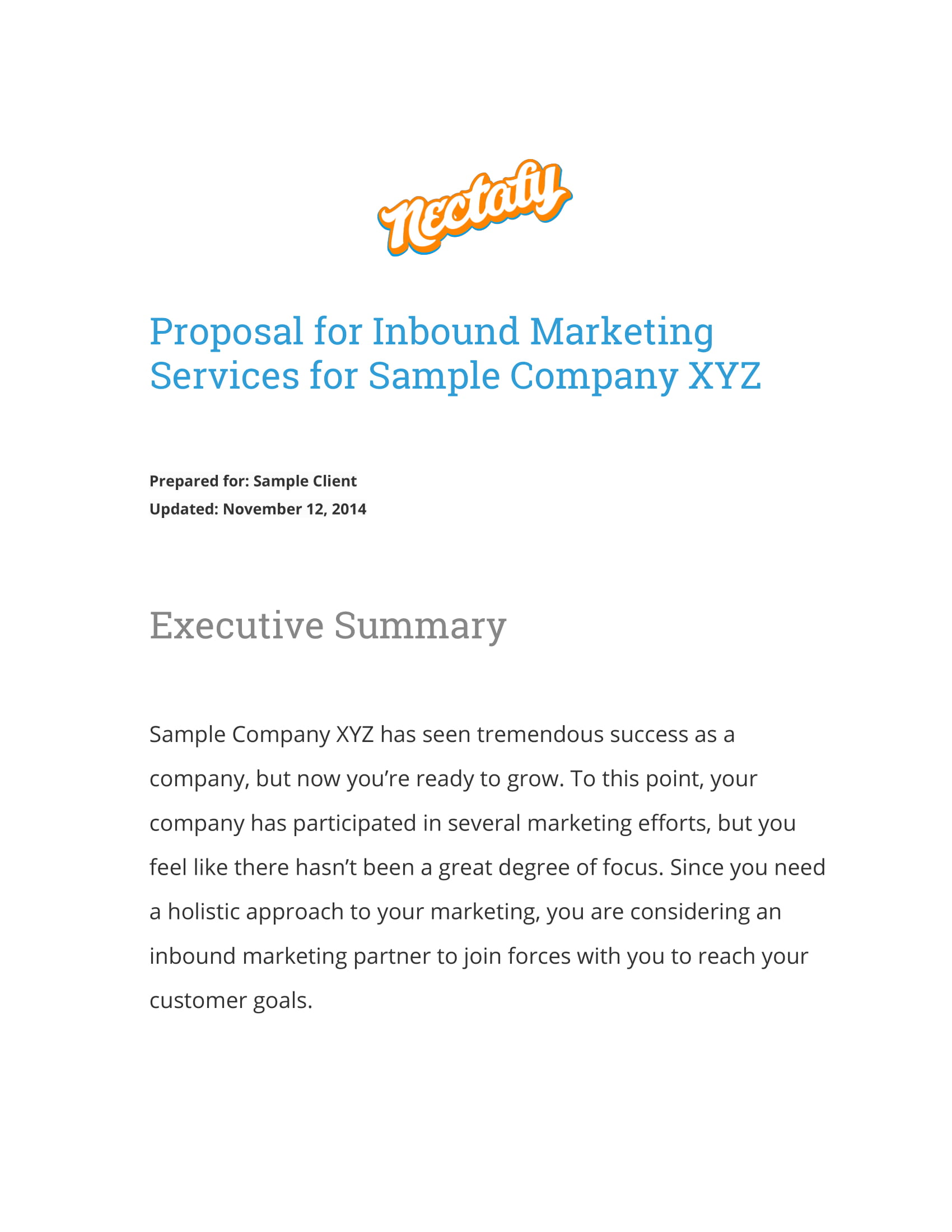inbound marketing campaign proposal example