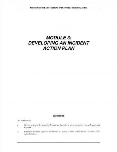 incident action plan development example