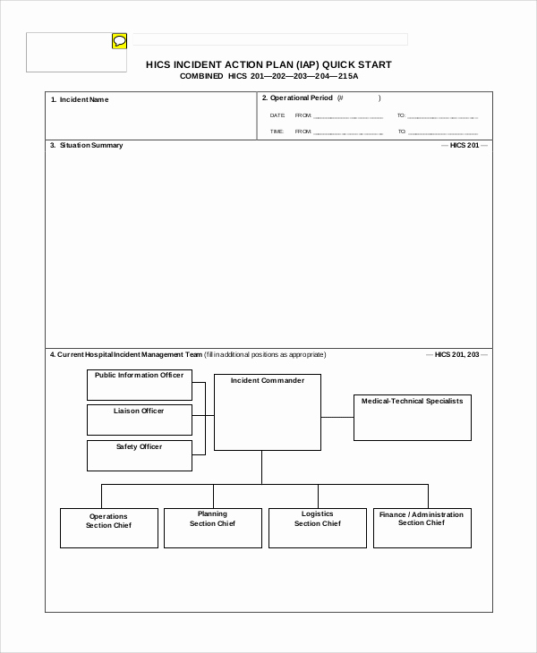 incident action plan quick start template
