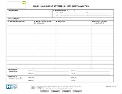 incident action plan safety analysis and format example