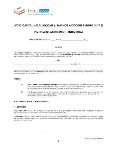individual equity investment agreement example
