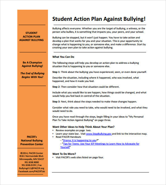 individual student action plan example